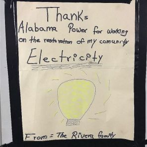 A note of thanks for Alabama Power crews. (Alabama Power file)