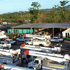 Staging area for crews to work on restoring outages in Puerto Rico. Alabama Power, Georgia Power, Gulf Power and Mississippi Power work together. (Alabama Power file)