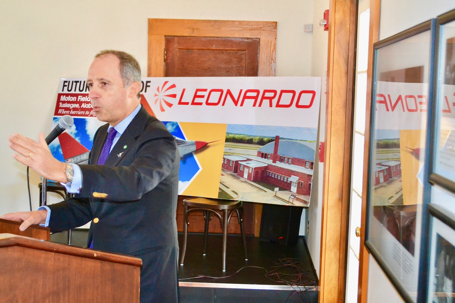 Italian Ambassador Armando Varricchio speaks at a community lunch in Tuskegee to support Leonardo's T-100 jet trainer project. (contributed)