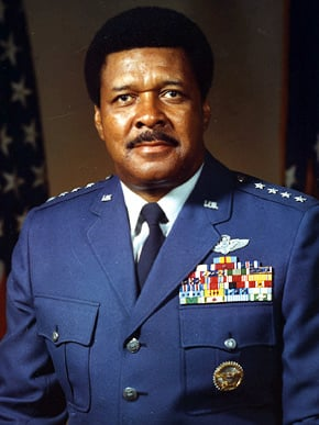 """Tuskegee Institute graduate Gen. Daniel """"Chappie"""" James (1920-1978) became the first black four-star general in American military history. He was a Tuskegee Airman with the 477th Bombardment Group during World War II and later flew fighters in Korea and Vietnam. (From Encyclopedia of Alabama, courtesy of the Air Force Historical Research Agency)"""