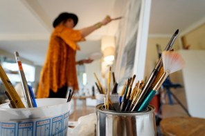 A highlight of Maples' career as an artist came recently when her work was included in an exhibition at the Louvre in Paris. (Mark Sandlin/Alabama NewsCenter)
