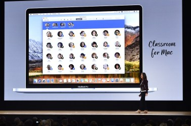 Susan Prescott, vice president of product marketing for Apple Inc., speaks during an event at Lane Technical College Prep High School in Chicago. Apple unveiled a low-cost iPad geared toward students to better compete with Google Chromebooks in the education market. (Christopher Dilts/Bloomberg)