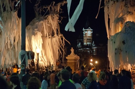 A scene of celebratory toilet paper fills the view near the main gate for Auburn University after an Auburn win and the time-honored tradition of the rolling of Toomer's Corner. (Auburn University)