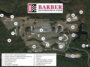 A layout of the park and its attractions. (Barber Motorsports Park and Museum)
