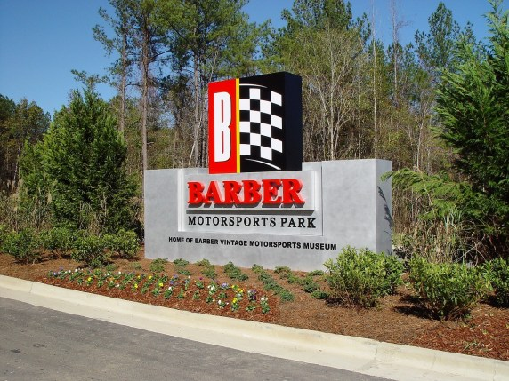 The entrance to Barber Motorsports from Rex Lake Road. (Barber Motorsports Park and Museum)