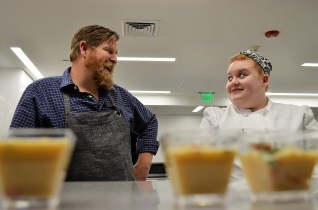Chef Rob McDaniel, left, made a shrimp and rutabaga veloute with fresh herbs. (Michael Tomberlin / Alabama NewsCenter)
