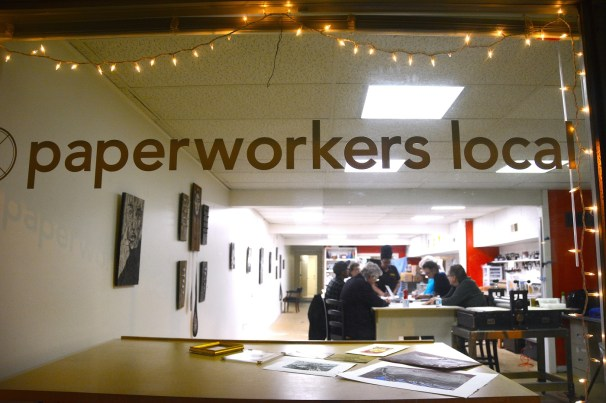 The artists at Paperworkers Local in Birmingham share space, equipment, ideas and advice. (Karim Shamsi-Basha/Alabama NewsCenter)