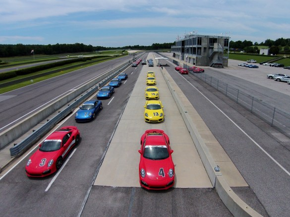 Porsches in the hotpit at Barber Motorsports. (Barber Motorsports Park and Museum)