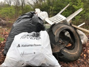 A sample of the trash and debris hauled from Valley Creek in Saturday's cleanup. (Michael Sznajderman/Alabama NewsCenter)