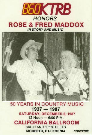 In what we believe was Rose's last public appearance in Modesto, she performed at KTRB's 50 years of country music celebration held at the California Ballroom in Modesto on December 5th, 1987. (Photo courtesy of the Modesto Radio Museum; Elmer (Smokey Silver) and Phyllis Gunkle)