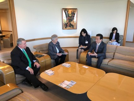 Gov. Kay Ivey and Commerce Secretary Greg Canfield meet with Yohshi Yamane, a senior managing director of Honda Motor Co., during the mission to Japan. (contributed)