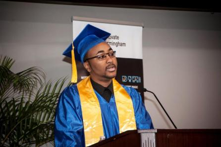 I AM BHAM graduate Matthew Mubarak speaks at the commencement. (Billy Brown / Alabama NewsCenter)