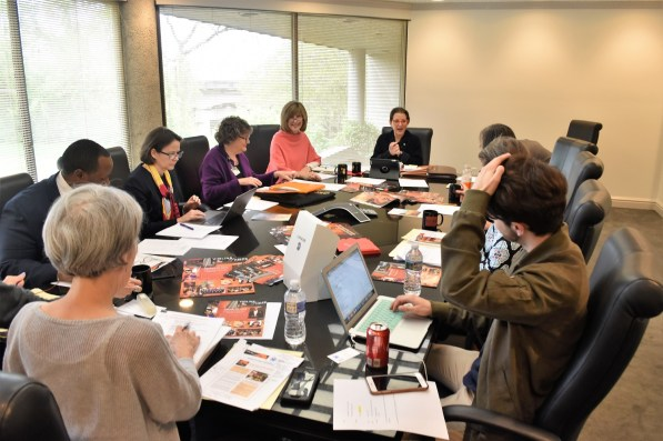 The committee for Violins of Hope Birmingham meets. (Karim Shamsi-Basha/Alabama NewsCenter)