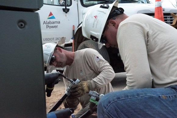 Linemen have to keep their own safety and the safety of their fellow linemen in mind at all times. (Brittany Faush/Alabama NewsCenter)