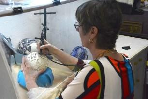 Karen Hils believes she has found egg-sactly the right medium for her art. (Karim Shamsi-Basha / Alabama NewsCenter)