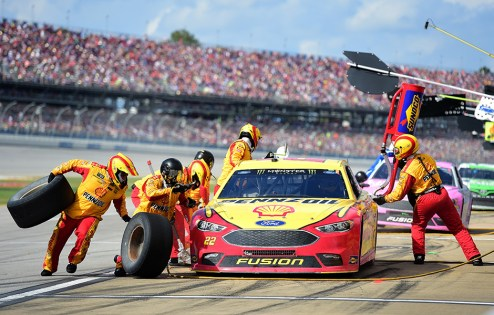 Joey Logano pits during a Monster Energy NASCAR Cup Series race at Talladega Superspeedway. Logano won last year's GEICO 500 at the track. (Photo by Jared C. Tilton/Getty Images)