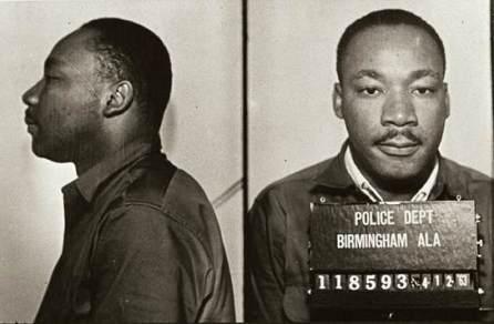 Mugshot of Martin Luther King Jr. following his arrest in Birmingham, 1963. (Birmingham Police Department, Wikipedia)