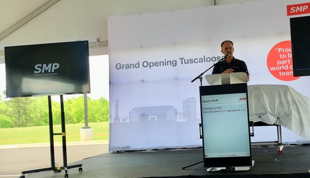 Jason Hoff, the head of Mercedes-Benz's Alabama operation, speaks at the grand opening of the SMP supplier plant in Tuscaloosa. (contributed)