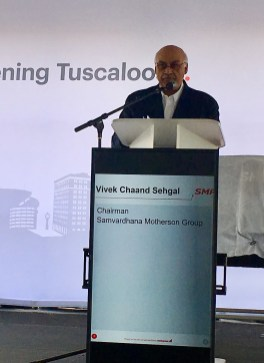 SMP Chairman Vivek Chaand Sehgal speaks at the grand-opening ceremony for the company's new Alabama plant. (contributed)
