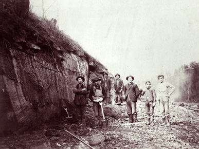 The Muscle Shoals canal project was authorized in 1831, but construction was abandoned in 1837. The project was revived in 1873 and completed in 1890. (From Encyclopedia of Alabama, courtesy of Alabama Department of Archives and History)
