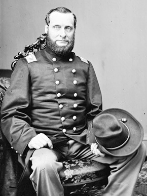 Abel Streight (1828-1892) was a Union colonel during the Civil War who led a failed raid through Alabama in 1863 to disrupt Confederate supply lines. Confederate Gen. Nathan Bedford Forrest eventually captured Streight in northern Alabama in May 1863, with the help of teenager Emma Sansom. (From Encyclopedia of Alabama, courtesy of Library of Congress)