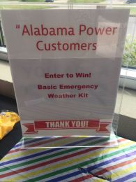 Customers entered into a drawing for an emergency preparation kit. (Keisa Sharpe/Alabama NewsCenter)