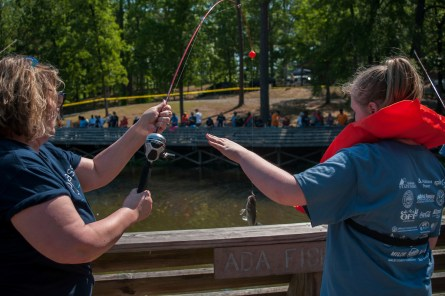 Gone Fishin', Not Just Wishin' provides students with outdoor fun, the excitement of catching fish and opportunities for interaction. (Billy Brown/Alabama NewsCenter)