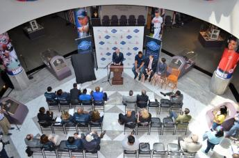 The NBA preseason game was announced at the Alabama Sports Hall of Fame. (Michael Tomberlin / Alabama NewsCenter)