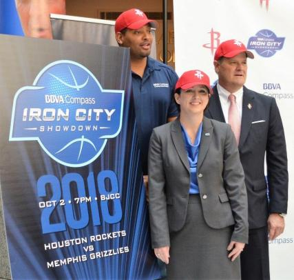 Making the announcement of the Iron City Showdown are, from left, Robert Horry, Rockets and Alabama legend; Andrea Smith, Birmingham CEO of BBVA Compass; and John Croley, vice president of corporate development with the Houston Rockets. (Michael Tomberlin / Alabama NewsCenter)
