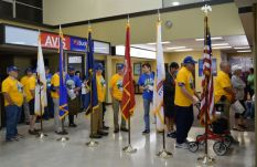 Veterans wait for the TSA checkout. (Donna Cope/Alabama NewsCenter)