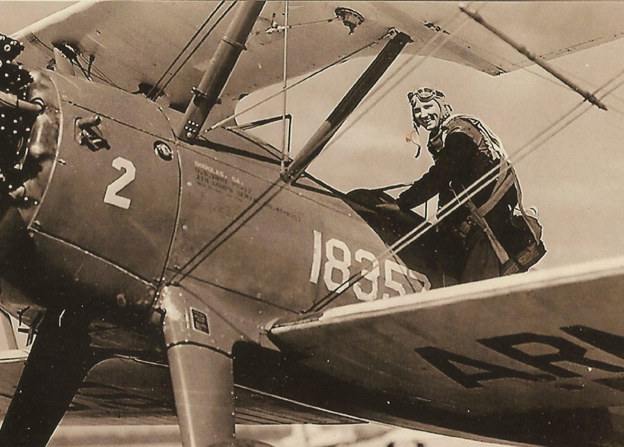 Col. Peter J. Stewart and one of his training airplanes (Photo/Courtesy the Stewart family)