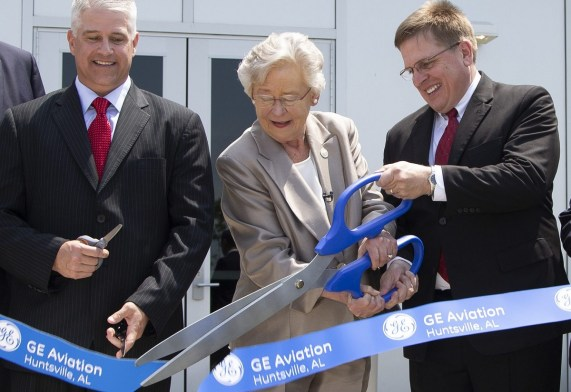Gov. Kay Ivey cuts the ribbon on GE Aviation's new Huntsville advanced materials production center, which will eventually have 300 employees. (contributed)