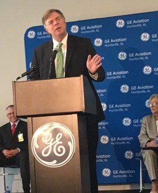 Huntsville Mayor Tommy Battle speaks at a plant-opening ceremony for GE Aviation's new advanced materials plant in Limestone County. (contributed)