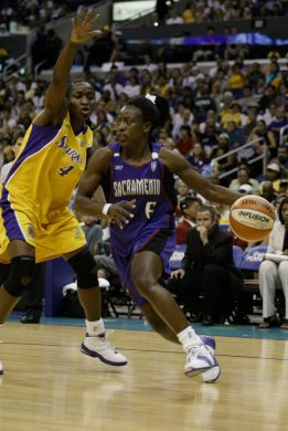 Mwadi Mabika, No. 4 of the Los Angeles Sparks, puts the pressure on Ruthie Bolton of the Sacramento Monarchs during game two of the 2003 WNBA Western Conference Finals on Sept. 7, 2003 at Staples Center in Los Angeles, California. (Photo by Lisa Blumenfeld/Getty Images)