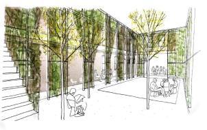 Concept drawings of Horseshoe Farm Hub. (Rural Studio)