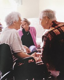 Wayne Flynt and his wife, Dartie, chat with Harper Lee at her apartment at the Meadows. (Courtesy of Lynn Barrett)