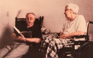 """Wayne Flynt reads from Helen Simonson's novel """"Major Pettigrew's Last Stand"""" as Harper Lee listens. (contributed)"""