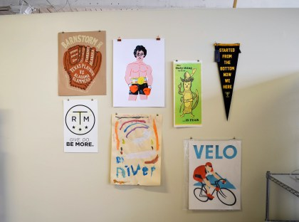 Posters and other projects by Bradley Dean. (Anne Kristoff/Alabama NewsCenter)