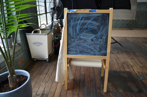 The Dean boys visit their dad's studio often, so there are chalk and white boards for them to draw on. (Anne Kristoff/Alabama NewsCenter)
