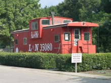 The City of Helena Welcome Center in Helena, Shelby County, is housed in an old Louisville and Nashville Railroad caboose. (From Encyclopedia of Alabama, photograph by Robert Culpepper)