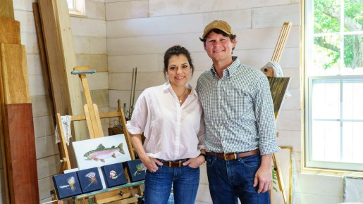 Andrew Lee credits his wife, Whitney, also an artist, for encouraging him to paint again. (Mark Sandlin/Alabama NewsCenter)