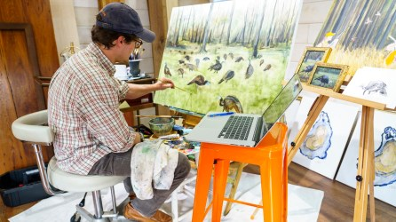 Painting is a great way for Andrew Lee to unwind, and it has won him a following. (Mark Sandlin/Alabama NewsCenter)