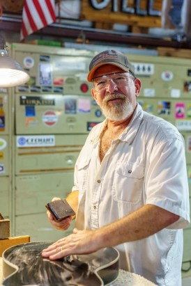 Fritz has worked as a professional guitar player, but his business these days is making and repairing guitars. (Mark Sandlin/Alabama NewsCenter)