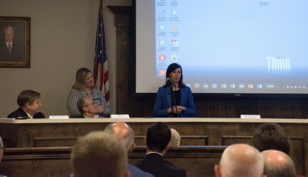 Jessica Rosenworcel, a member of the Federal Communications Commission, speaks at a meeting in Haleyville, Alabama, where the first 911 call was placed in 1968. (Brittany Faush/Alabama NewsCenter)