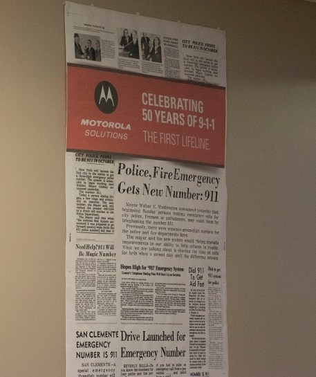 A newspaper marks the beginning of 911 in Haleyville, Alabama, in 1968. (Brittany Faush/Alabama NewsCenter)