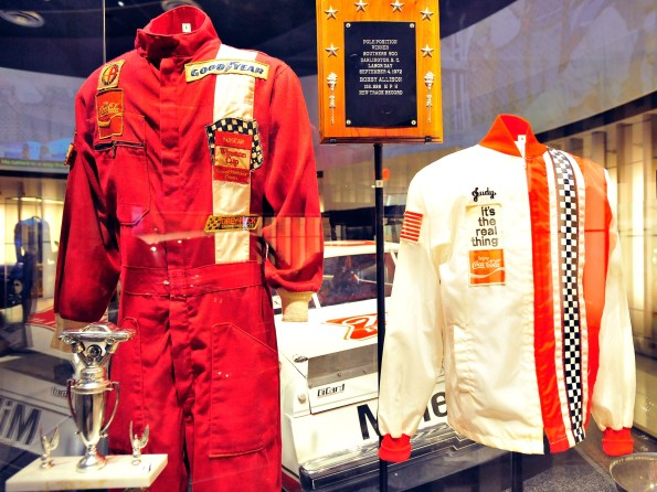 Trophies, uniforms and other memorabilia belonging to NASCAR Hall of Fame member Bobby Allison are displayed during the Hall of Honor unveiling at the NASCAR Hall of Fame on May 24, 2011 in Charlotte, N.C. (Photo by Jason Smith/ Getty Images for NASCAR)