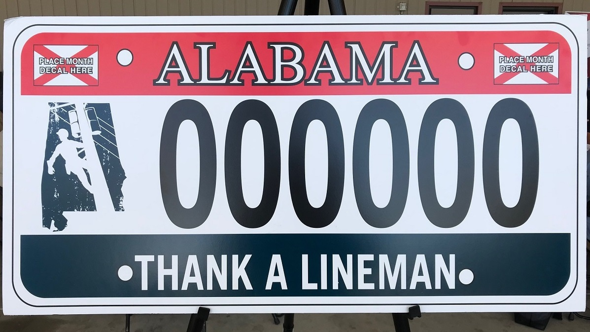 License plate honoring linemen unveiled during Alabama Lineman Appreciation Day
