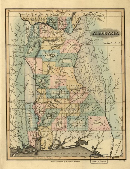 Map of Alabama, published in 1826. (Fielding Lucas Jr., Library of Congress, Geography and Map Division)