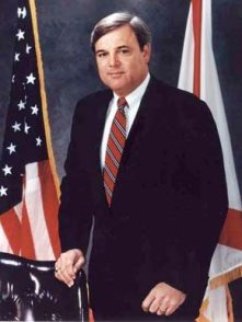 "James E. Folsom Jr. became governor of Alabama in 1993 after Gov. Guy Hunt was convicted on a felony ethics charge. Folsom was elected to three terms as lieutenant governor, in 1987, 1990 and 2007. Folsom is known for bringing a Mercedes-Benz plant to Alabama and for removing the Confederate flag from the state Capitol building. His father, James ""Big Jim"" Folsom Sr., was governor of Alabama from 1947-51 and 1955-59. (From Encyclopedia of Alabama, courtesy of Alabama Department of Archives and History)"