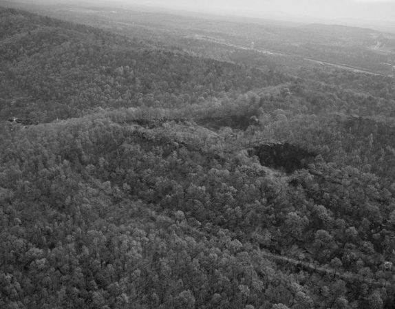 Aerial view of Jones Valley, including Ruffner Mountain and the city of Birmingham. (Photograph by Jet Lowe, Library of Congress, Prints and Photographs Division)